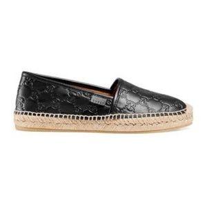 Gucci Black Pilar Leather Espadrille Flats